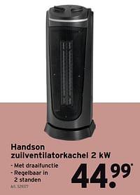 Handson zuilventilatorkachel 2 kw-Handson