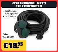 Verlengkabel met 2 stopcontacten 10m-Huismerk - Bouwcenter Frans Vlaeminck