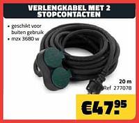 Verlengkabel met 2 stopcontacten 20m-Huismerk - Bouwcenter Frans Vlaeminck