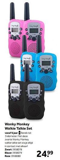 Wonky monkey walkie talkie set zwart-Wonky Monkey