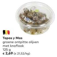 Tapas y mas groene ontpitte olijven met knoflook-Tapas Y Mas