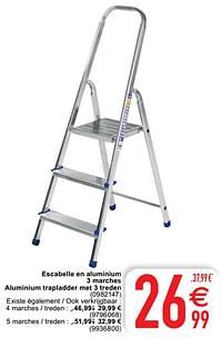 Escabelle en aluminium 3 marches aluminium trapladder met 3 treden-Huismerk - Cora