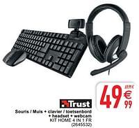 Trust souris - muis + clavier - toetsenbord + headset + webcam kit home 4 in 1 fr-Trust