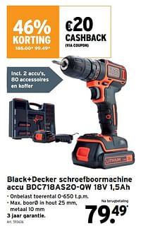 Black+decker schroefboormachine accu bdc718as2o-qw 18v 1,5ah-Black & Decker