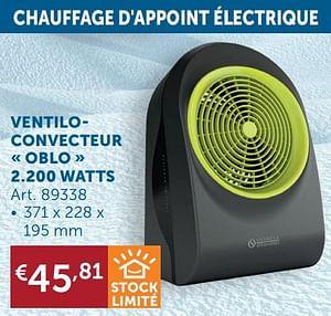 Ventiloconvecteur oblo 2.200 watts