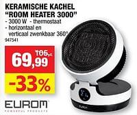 Eurom keramische kachel room heater 3000-Eurom