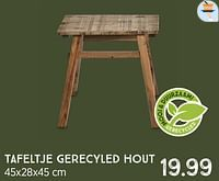 Tafeltje gerecyled hout-Huismerk - Xenos