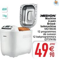 Medion machine à pain broodbakmachine md18636-Medion