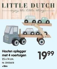 Houten oplegger met 4 voertuigen-Little Dutch