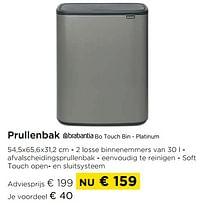 Prullenbak brabantia bo touch bin - platinum-Brabantia