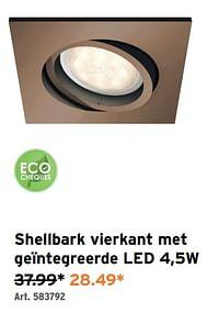 Shellbark vierkant met geïntegreerde led 4,5w-Huismerk - Gamma