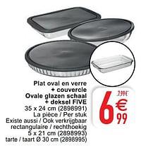 Plat oval en verre + couvercle ovale glazen schaal + deksel five-Five