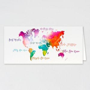 Carte de voeux professionnelle carte du monde colorée - carte-de-voeux-entreprise