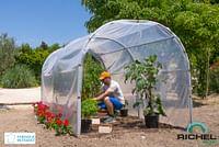 Serre tunnel abri Richel polyéthylène acier transparent gris 200x400x200cm 8m²-Garden Gourmet