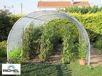 Serre tunnel abri Richel polyéthylène acier transparent gris 300x800x200cm 24m²-Garden Gourmet