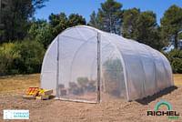 Serre tunnel Richel 2 portes polyéthylène acier transparent gris 300x600x200cm 18m²-Garden Gourmet