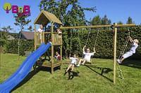 BnB Wood schommel Nieuwpoort Eco met blauwe glijbaan-BNB Wood