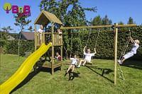 BnB Wood schommel Nieuwpoort Eco met gele glijbaan-BNB Wood