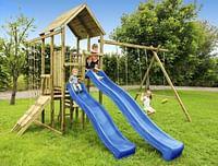 BnB Wood schommel Perk Adventure met 2 blauwe glijbanen-BNB Wood