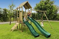 BnB Wood schommel Perk Adventure met 2 groene glijbanen-BNB Wood