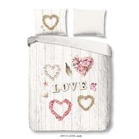 Good Morning dekbedovertrek in flanel Love - veelkleurig - 240x200/220 cm - Leen Bakker-Good Good