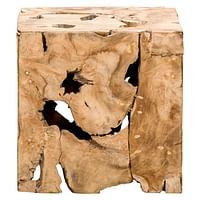Decoratief blok naturel teak Luuk - bruin - 37x37x37 cm - Leen Bakker-Huismerk - Leen Bakker
