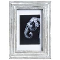 Fotolijst Bas - grijs/wit - 10x15 cm - Leen Bakker-Huismerk - Leen Bakker