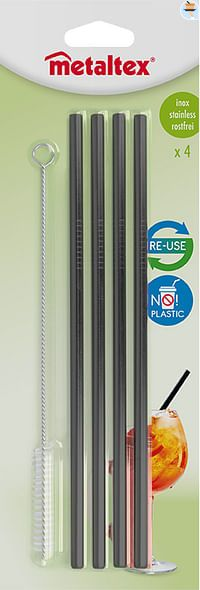 Metaltex Rietjes herbruikbaar 21,5 cm zwart 4 stuks-Metaltex