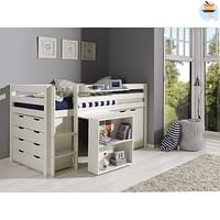 Vipack halfhoogslaper Pino met bureau, commode, kast en een hangtablet - wit - Leen Bakker-Vipack