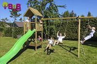 BnB Wood schommel Nieuwpoort Eco met limegroene glijbaan-BNB Wood