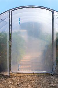 Deur serre breedte 450cm Richel polyethyleen grijs transparant staal-Garden Feelings