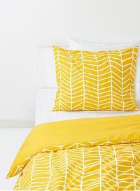 HEMA Dekbedovertrek - Zacht Katoen - Geel Print (geel)-Huismerk - Hema