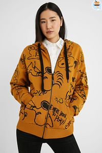 Oversized sweatvest Snoopy - YELLOW - S-Be Wave