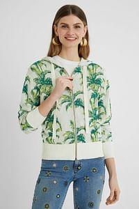 Sweatshirt jack met capuchon en tropische print - GREEN - S-Be Wave