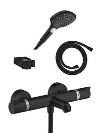 Hansgrohe Ecostat Comfort thermostatische badkraan met douchekop mat zwart-Hansgrohe