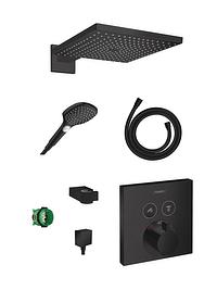 Hansgrohe Showerselect thermostatische inbouw regendoucheset met vierkante regendouchekop 30 cm mat zwart-Hansgrohe