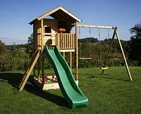 BnB Wood schommel Lucas met zandbak en groene glijbaan-BNB Wood