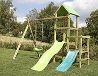 BnB Wood schommel Little Eden Duo met lime en turquoise glijbaan-BNB Wood