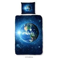 Good Morning kinderdekbedovertrek Earth - blauw - 140x200/220 cm - Leen Bakker-Good Good