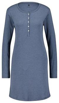 HEMA Dames Nachthemd Katoen Ribbels Blauw (blauw)-Huismerk - Hema