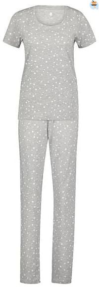 HEMA Dames Pyjama Katoen Sterren Grijsmelange (grijsmelange)-Huismerk - Hema