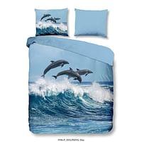 Good morning dekbedovertrek Dolphins - blauw - 200x200/220 cm - Leen Bakker-Good Good