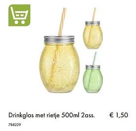Aanbiedingen Drinkglas met rietje - Huismerk - Multi Bazar - Geldig van 30/06/2020 tot 31/08/2020 bij Multi Bazar
