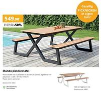 Aanbiedingen Mundo picknicktafel - Huismerk - Exterioo - Geldig van 01/02/2021 tot 30/09/2021 bij Exterioo