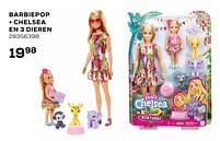 Aanbiedingen Barbiepop + chelsea en 3 dieren - Mattel - Geldig van 16/03/2021 tot 20/04/2021 bij Supra Bazar