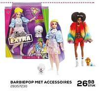 Aanbiedingen Barbiepop met accessoires - Mattel - Geldig van 16/03/2021 tot 20/04/2021 bij Supra Bazar
