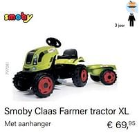 Aanbiedingen Smoby claas farmer tractor xl - Smoby - Geldig van 14/03/2021 tot 31/05/2021 bij Multi Bazar