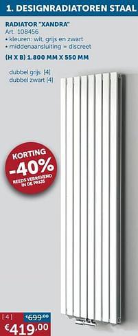 Aanbiedingen Designradiatoren staal radiator xandra -  - Geldig van 30/03/2021 tot 26/04/2021 bij Zelfbouwmarkt