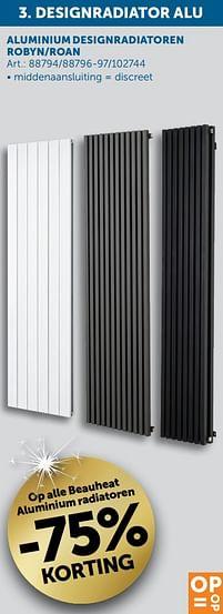 Aanbiedingen Op alle beauheat aluminium radiatoren -75% korting - Beauheat - Geldig van 30/03/2021 tot 26/04/2021 bij Zelfbouwmarkt