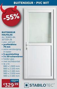 Aanbiedingen Buitendeur halfglas - Stabilotec - Geldig van 25/05/2021 tot 21/06/2021 bij Zelfbouwmarkt